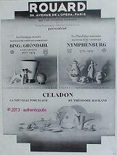 PUBLICITE ROUARD CELADON HAVILAND BING GRONDAHL NYMPHENBURG PORCELAINE 1929 AD