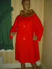 Vintage RED felted WOOL mink WEDDING band COLLAR coat BIG button 60s 1960s B34 S