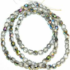 """CZ266 Crystal Silver Vitrail 4mm Fire-Polished Faceted Round Czech Glass 16"""""""