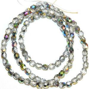 CZ266 Crystal Silver Vitrail 4mm Fire-Polished Faceted Round Czech Glass 16""