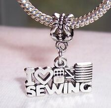 I Heart Sewing Love Seamstress Dangle Bead fits Silver European Charm Bracelet