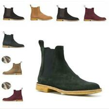 Occident Men's Real Suede Leather Chelsea Boots Shoes Pointy Toe Chukka Party L
