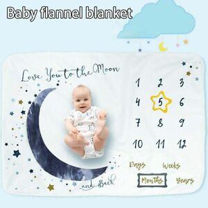 Large Newbron Baby Milestone Blanket Star Moon Photo Background Growth Memory AU