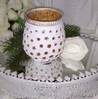Teelichthalter Windlicht Deko Weiß Gold  Glas Landhaus Nostalgie Shabby Vintage