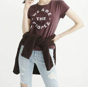 Abercrombie & Fitch - STATEMENT T-Shirt, Burgundy - RRP £30.00