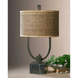 """STABINA TROPICAL FEEL WOVEN RATTAN SHADE XXL 30"""" TABLE LAMP UTTERMOST 26541"""