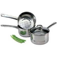 Culinary Edge 4 Piece 2 QT Double Boiler Steamer Stainless Steel Lid Saucepan