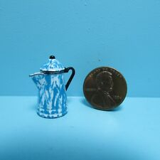 Dollhouse Miniature Blue Enamelware Coffee Pot with Lid ~ CAR0890