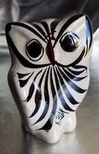 "VINTAGE MEXICAN POTTERY WHITE HORNED OWL FIGURE. SIGNED ""MEX"" FLOWERS ON BACK"
