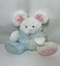 Fisher Price Puffalump Baby MOUSE Blue Stripe Vintage Rattle