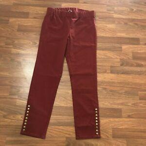 Soft Surroundings Women's Colorful Metro Leggings Pants Burgundy Red M $80 27431