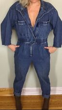 vtg 80s MIZZ LIZZ Denim Washed Blue Jean ONE PIECE JUMPSUIT Coveralls M/L Levis