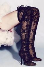 Womens High Heels Black Lace Over Knee High Boots Strappy Party Thigh Shoes Sexy