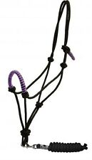 Showman Cowboy Knot Rope Halter with PURPLE Nylon Wrapped Noseband! HORSE TACK!