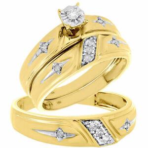 10K Yellow Gold Fn Men's & Woman's Diamond Wedding Ring Bands Trio Bridal Sets
