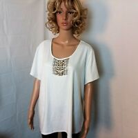 Ruby Rd. Tunic Top Womens Plus Size 2X White Embellished Short Sleeve Stretch