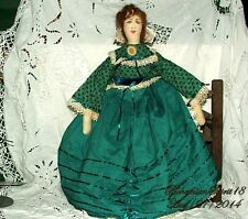 Arturo E.Reyna Victorian maiden Green Dress ONE OF A KIND SIGNED Rag Doll
