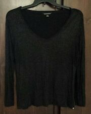 Rock & Republic Black Woman's V-neck Top XL silver shimmer lightweight thin