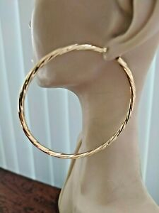 9ct gold large, quality hoops Weight 2.9 grams  Diameter 65m