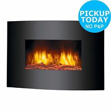 Beldray Eh0815 Parma Curved Black Log Effect Wall Fire 2nd