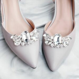 Pair glass rhinestone shoe clips wedding party shoes charm decoration BNIP