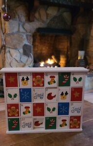 "Vintage Wooden Christmas Advent Calendar w/ Doors Christmas Countdown 13"" x 15"""
