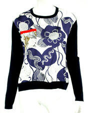 LA PRESTIC OUISTON Navy Wool & Multi-Color Floral Print Satin Sweater 2