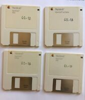 "4 Apple Macintosh 3.5"" floppy discs: HyperCard Startup, Ideas, Help; 1987 + Case"