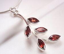 5-Gem Faceted Garnet Leaves on Stem Sterling Silver Pendant Corona Sun Jewelry