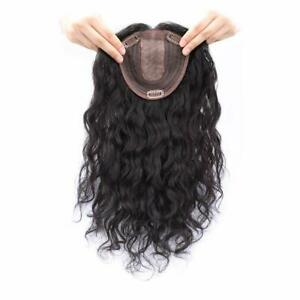 Women Curly Real Human Hair Middle Silk Base Topper Wiglet Top For Loss Hair