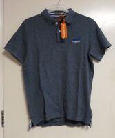 SUPERDRY Classic Cali Pique Polo Shirt blue grit SIZE XL RRP £34.99 CR180 FF 12