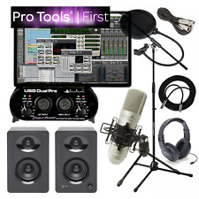 NEW Pro Tools First Home Recording Studio Bundle Speakers Mic USB Interface More