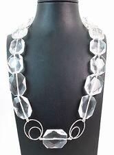 Collana in cristallo di rocca naturale con chiusura in argento Made in Italy