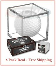 Golf Ball Display Plastic Clear Case Cube Square Holder Autograph BCW 6 Pack New
