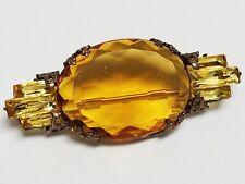 Antique Art Deco Faceted Amber & Baguette Cut Citrine Pin Brooch C-Clasp Closure