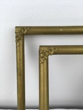 2 Vtg Matching 5x6 Wood PIcture Frames w Ornate Brass Corner Pieces & Gold Paint