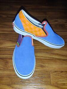 Rare🔥Vans Classic Slip On Blue/Grape/Orange Suede Skate Shoes Men's Size 11.5