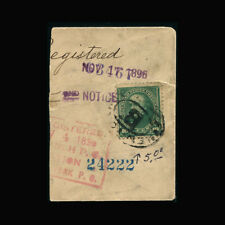 """Cover piece, 1896, Registered Mail, New York, NY, """"B"""" cancel, COV257"""