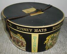 """Vintage Mr. Disney 15"""" Oval Hat Box Storage Case Currier & Ives w/Belt Strap"""