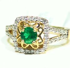 Vintage 14K Gold Natural Emerald White Diamond 1.03CT Fine Engagement Ring Deco