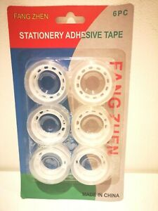 6 X Stationary Adhesive Sellotape 18mm x 20m Sticky Clear Transparent Tape Mini