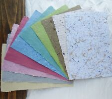 10 Sheets of Handmade Paper - A Rainbow of Color - 8.5 in x 5.5 in sheets