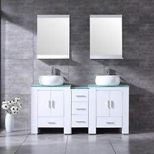 "60"" Bathroom Vanity Wood Cabinet Double Ceramic Sink Set w/ Faucet Mirror White"