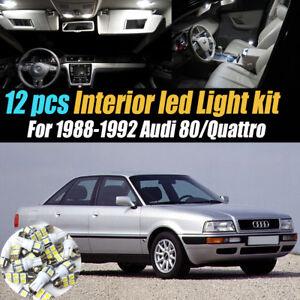 12Pc Super White Interior LED Light Bulb Kit Package for 88-92 Audi 80/Quattro