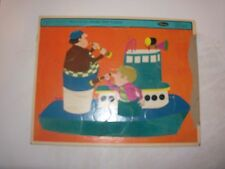 Vintage Fuzzy Wuzzy Preschool Frame Tray Puzzle Tugboat by Whitman 1968