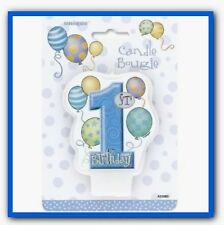 1st Birthday Candle - Boys Blue Party Supplies Decorations Cake Balloons