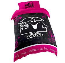 Little Miss Chatterbox Kids Black & Pink Single Bed Quilt Duvet Doona Cover Set