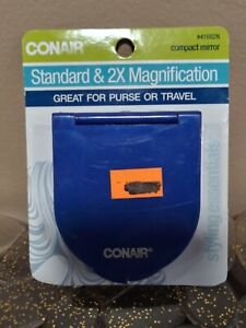 Conair Standard & 2x Magnification compact Mirror Great for Purse Blue Read