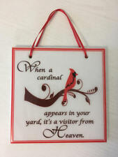 """Sympathy Gift Memory Quote Tile """"When a cardinal appears....visitor from Heaven"""