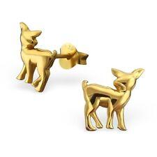 Sterling Silver 925 Cute Gold Deer Stud Earrings